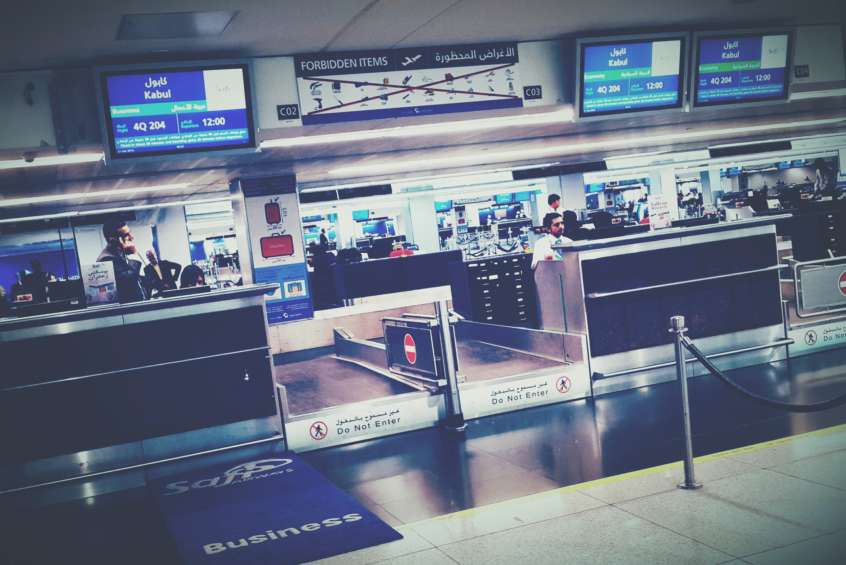Check in counter for Safi Airways at Dubai International Airport