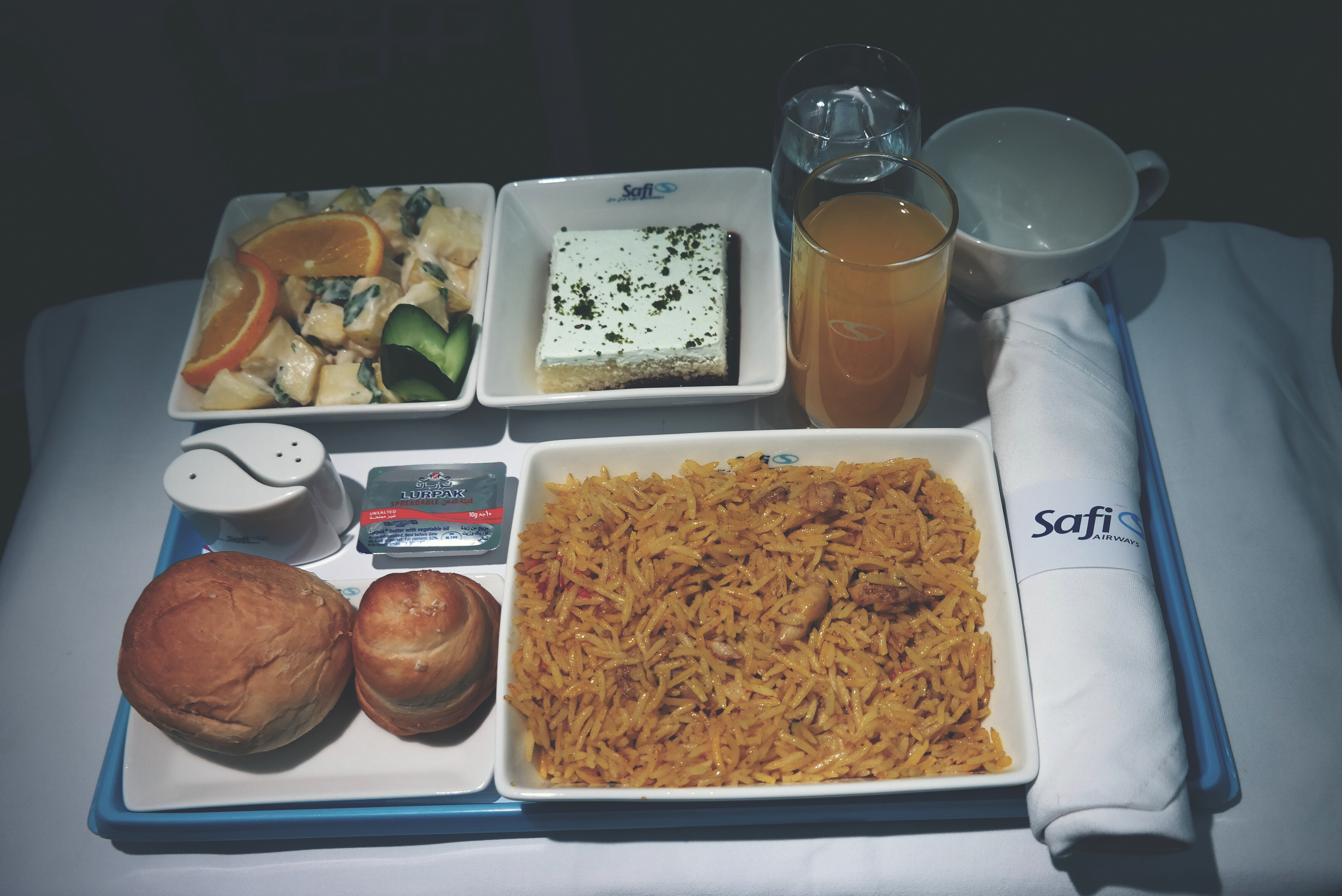 Dinner tray served in Business Class from Kabul to Dubai
